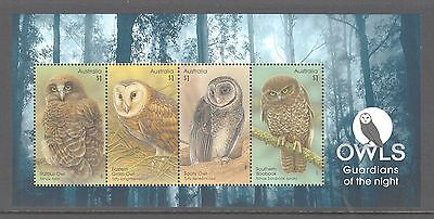 Australia 2016 Owls : Guardians of the night mint unhinged mini sheet stamps