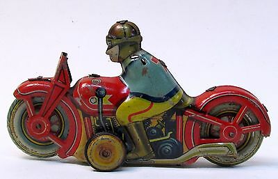 "scarce 1940's Occupied Japan MOTORCYCLE tin litho friction 5.25"" long INCOMPLETE"