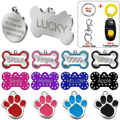 Bone Shape Custom Dog Tags for Pet Cat ID Tags Personalised Name FREE Engraving