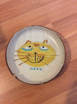 """Vintage Collectible Ashtray Cat Themed 9"""" Diameter"""
