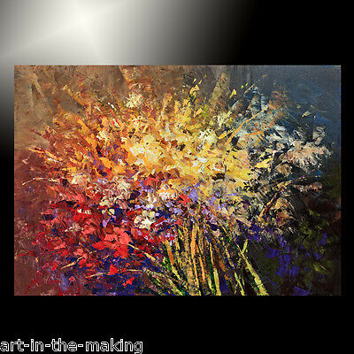 MODERN flower PAINTING red FLORAL home DECOR abstract ART TATIANA picture large