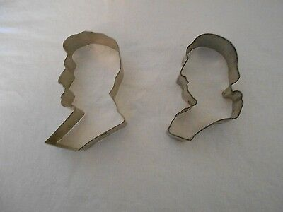 2 Vintage  Cookie Cutters - George Washington & Abe Lincoln