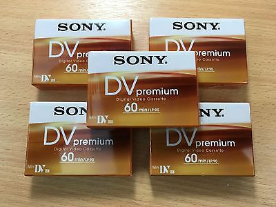 5 x New Sony DV Premium Mini DV Digital Video Cassette Camcorder Tape 60/90 Min