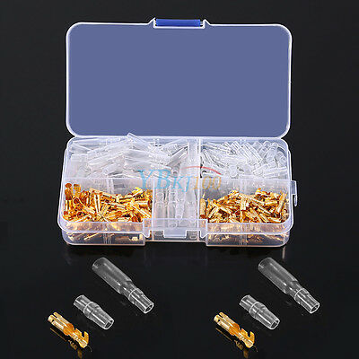 60 Sets 3.5mm Motorcycle Brass Bullet Connector Terminal Male & Female + Covers