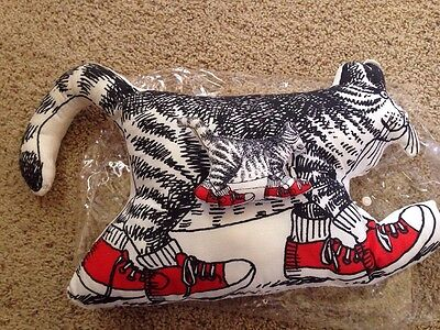Kliban Cat Plush Stuffed Pillow New Cat With Shoes Sneakers