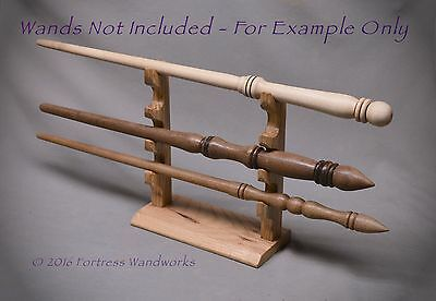 Wood Magic Wand Display for 4 Pacific NW Oak Wizard Pagan Wicca Metaphysical