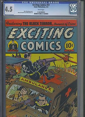 EXCITING COMICS #31 CGC VG+ 4.5; White Pg.!; Schomburg WWII Black Terror cover!