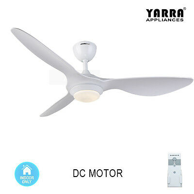 52'' White Modern Ceiling Fan DC Motor with Light kit Remote control