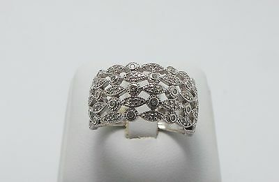 Stunning White Gold 1/2Ct Diamond Wide Ring Valued @$1473 Comes With Valuation
