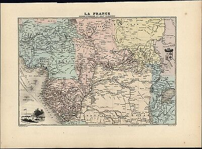 African French Congo Upper Ubangi Brazzaville view 1903 decorative antique map