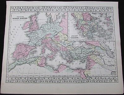 Total extent of Roman Empire Ancient Greece 1881 Mitchell antique map hand color