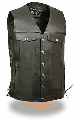 Men's Side Lace Motorcycle Leather Club Vest with dual inside Gun Pockets