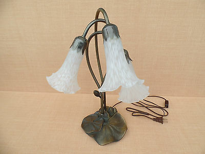 Vintage Tiffany Style  Lily Pad Tulip Lamp Light Lighting White Frosted Shades
