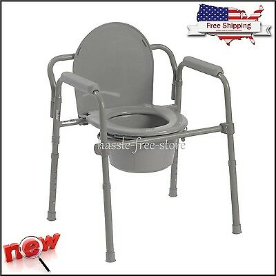 Commode Potty Raised Over Toilet Seat Chair Bucket Bedside Bathroom Travel Fold