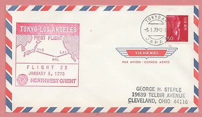 1970 Japan First Flight Airmail Cover Tokyo To Los Angeles Fam 28 Aamc F28-85