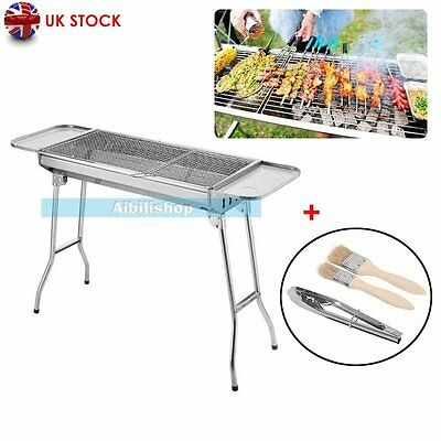 New Folding Charcoal BBQ Grill Barbecue Cooking Camping Stainless Steel【UK】