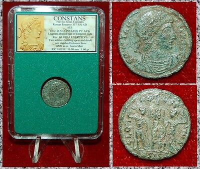 Ancient Roman Empire Coin Of CONSTANS Two Soldiers and One Standard