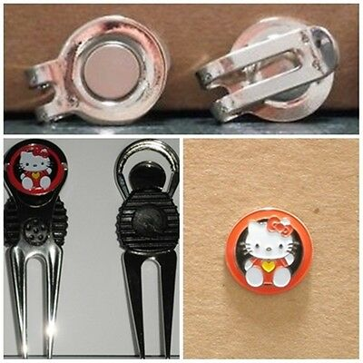 2 only HELLO KITTY GOLF BALL MARKERS COMES WITH A CLASSY DIVOT TOOL & HAT CLIP