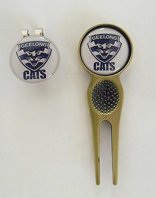 2 Only Geelong Cats Golf Ball Markers, A Quality Divot Tool &  Hat Clip