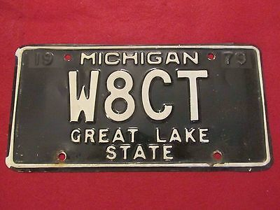 "1979 Michigan Ham Radio License Plate-EARLY ISSUE and RARE!  ""W8CT"""