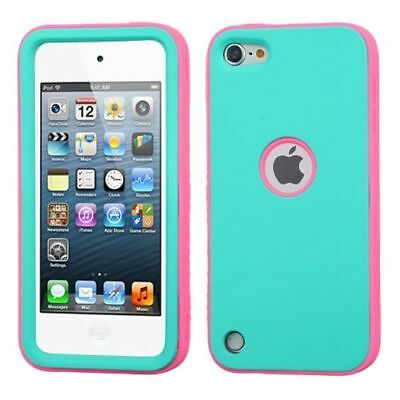 For Apple iPod Touch 5th Gen/6th Gen Turquoise Hot Pink Verge Hard Hybrid Case