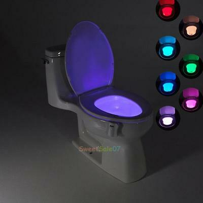8 Color Changing Toilet LED Night Light Human Motion Activated Seat Sensor Lamp