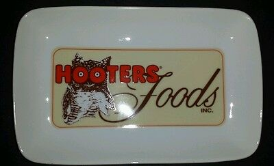 """Hooters Foods Wing Plate Platter Tray Owl 9 1/4 X 6  X 1 1/4"""" Rectangular"""