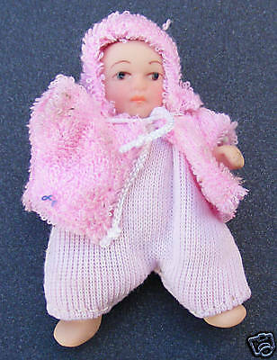 1:12 Scale Baby Dolls House Miniature Accessory Girl In A Pink Romper Suit 127