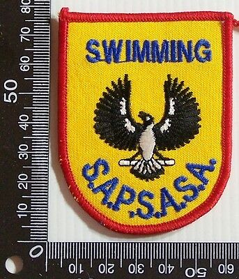 Vintage Sapsasa Swimming Embroidered Souvenir Patch Woven Cloth Sew-On Badge