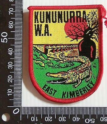 Vintage Kunnunurra Wa Embroidered Souvenir Patch Woven Cloth Sew-On Badge