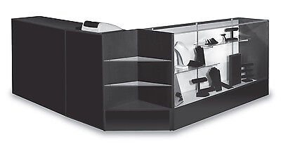 "Combo Cashier  POS 60"" Showcase 48"" Counter Register Stand Black Knockdown New"