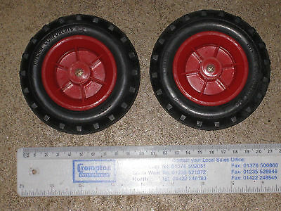 Pair plastic toy wheels 100mm diameter