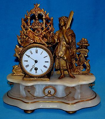 Antique Late 19th Century Clock with 2 Candle Holders