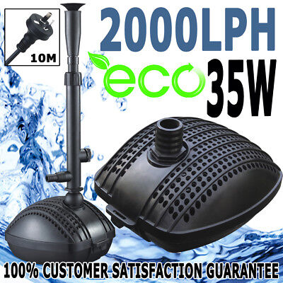Submersible Aqua Fountain Pond Marine Eco Water Pump 2000LPH Plus Fountain Kit