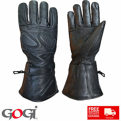 GOGi Real Soft Leather Winter Gloves Long Wrist Support Unisex Black Colour 100