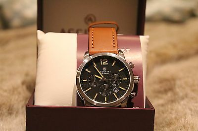 Mens Accurist London Tan Leather Chronograph 7020 Watch Brand New