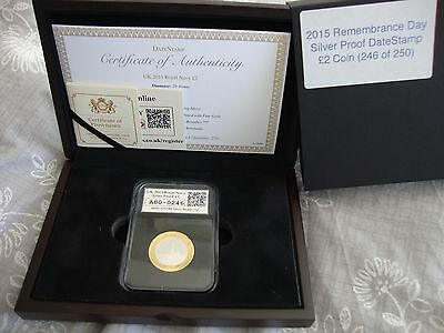 2015 Remembrance Day Silver & Gold Proof DateStamp £2 Coin (Only 250 Issued)