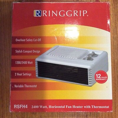 Ringgrip horizontal fan heater with thermostat