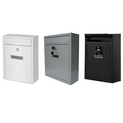 Large Metal Lockable Wall Mounted Letter Post Box Mailbox Square Outdoor Garden