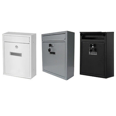 New  Metal Lockable Wall Mounted Letter Post Box Mailbox Square Outdoor Garden