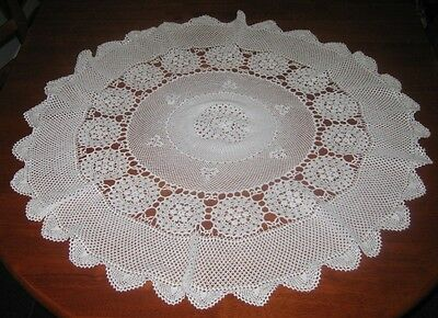 Vintage Crocheted Lace Tablecloth ~ Cotton ~ White ~ Round