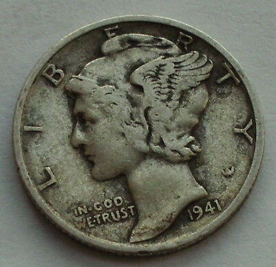 1941 US Mercury Dime Free Shipping silver coin