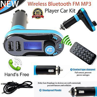 Bluetooth Handsfree Car Kit MP3 FM Transmitter SD Dual USB Charger For Phones !!