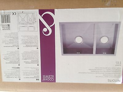 Cooke & Lewis NITOITE Inset/undermount Square 1.5 Bowl Sink Stainless Steel