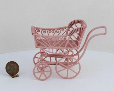 Dollhouse Miniature Ornate Victorian Pink Wire Baby Buggy