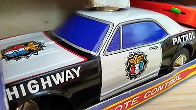 1970's TAIYO JAPAN Tinplate R/C US Police highway patrol car MIB