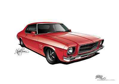 1971 Holden HQ Monaro GTS Coupe Poster A3 420x297mm **concept drawing** print