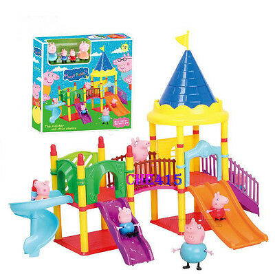 Peppa Pig Playground Children's Slide Play Set With Figures Xmas Kid Gift