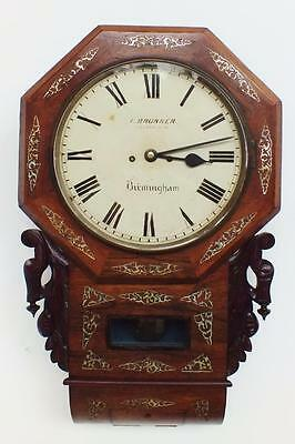 Antique English Twin Double Fusee Rosewood Mother Of Pearl Drop Dial Wall Clock