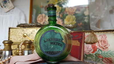 Edwardian Scent Bottle Old English Lavender Water Green Glass